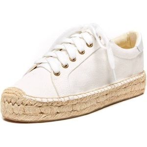 Soludos White Lace Up Platform Espadrille Sneakers